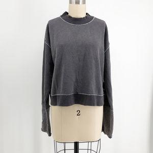 FREE PEOPLE Look Ahead Button Cuff Crop Sweatshirt